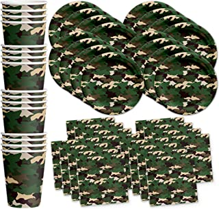 Camo Classic Birthday Party Supplies Set Plates Napkins Cups Tableware Kit for 16