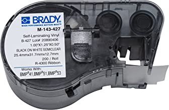 Brady Self-Laminating Vinyl Label Tape (M-143-427) - Black on White, Translucent Tape - Compatible with BMP41, BMP51, and BMP53 Label Makers - 1.25