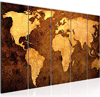 Cuadro en LienzoMapa del Mundo 200 x 80 cm - XXL Impresión Material Tejido no Tejido Artística Imagen Gráfica Decoracion de Pared -5 piezas - Listo para colgar -101755a