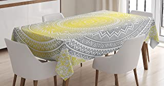 Ambesonne Grey and Yellow Tablecloth, Soft Pastel Color Ombre Mandala Circular Art Medallion Print, Dining Room Kitchen Rectangular Table Cover, 52
