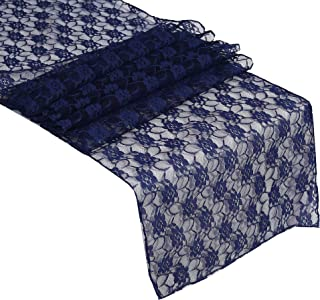 mds Pack of 25 Wedding 12 x 108 inch Lace Table Runner for Wedding Banquet Decor Table Lace Runner- Navy Blue