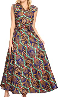 Beyaz Women's Maxi Sleeveless Wrap Long Dress with Pockets V Neck African