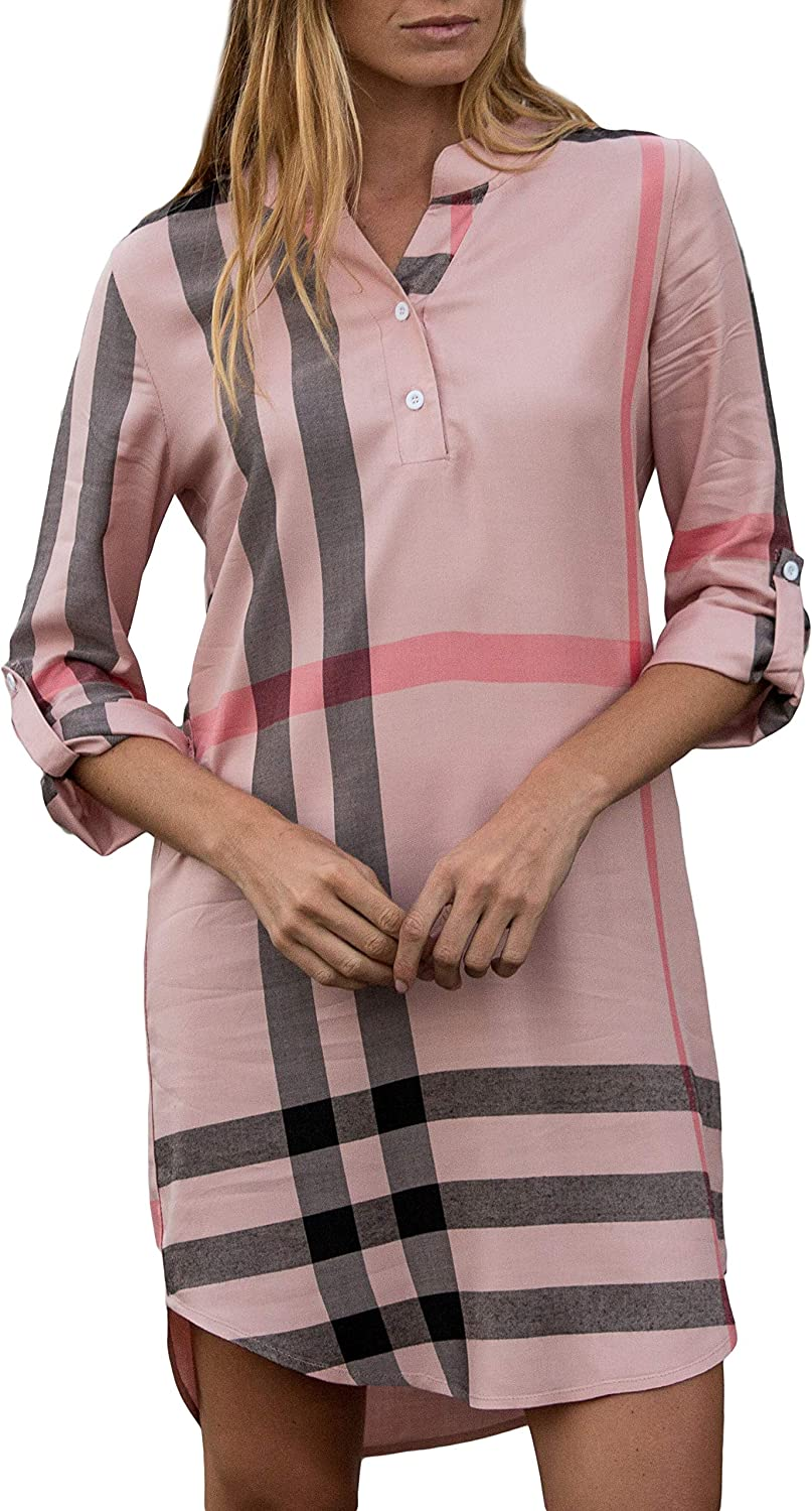 Amaryllis Apparel Women's Pretty in Plaid Roll Tab Sleeve VNeck Dress   100% Cotton
