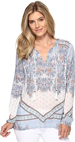Vintage Boho Bandana Border Long Sleeve Blouse