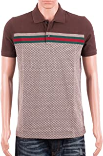 677989e0d4cd Gucci Mens Polo Shirt Brown with Diamante Print and Front Stripe Signature