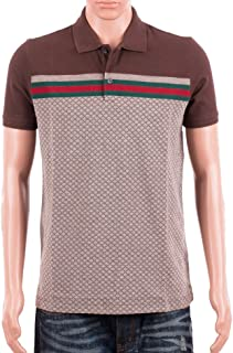 a55d1dff3e3 Gucci Mens Polo Shirt Brown with Diamante Print and Front Stripe Signature