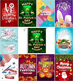 Myroh Seasonal Garden Flags Premium Quality Outdoor Yard Décor, Top Assorted Holiday Pack Set of 10, 12.5 x 18 inches Prime Double Sided Colorful Print, Designed in The USA, Best Thick Polyester