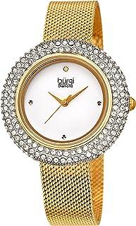 Burgi Swarovski Crystal Women's Watch - A Diamond Hour Marker on Accented Stainless Steel Mesh Bracelet Wristwatch - Perfe...