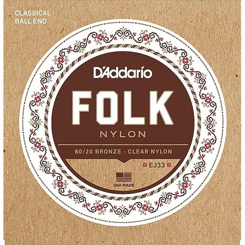 D'Addario EJ33 Folk Nylon Normal  (.028-.045) Ball End Folk Guitar Strings