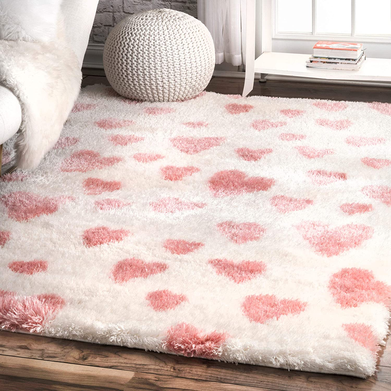 Popular brand nuLOOM Olivia Heart Nursery Shag Area x Dedication Pink 6' 4' Rug
