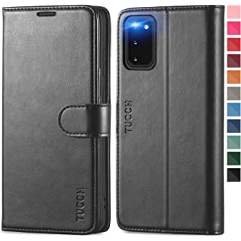 TUCCH Galaxy S20 Wallet Case with [TPU Shockproof Interior Case] [RFID Blocking] Card Slot Folio [Kickstand], Magnetic PU Leather Protect Folio Cover Compatible with Galaxy S20 6.2-Inch, Black