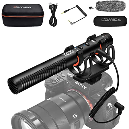 Comica CVM-VM20 Camera Shotgun Microphone with Rycote Shock Mount, Furry Deadcat, OLED Power Display, Super-Cardioid Directional Microphone for Canon Nikon Sony DSLR Camera Smartphone-Rechargeable Mic