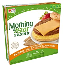 Morningstar Farms, Veggie Breakfast, Sausage, Egg and Cheese Muffin Sandwich, Vegetarian, 14.8 oz (4