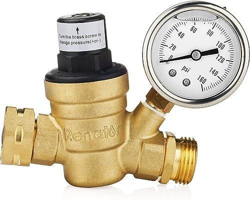 Renator M11-0660R Water Pressure Regulator Valve. Brass Lead-Free Adjustable Water Pressure Reducer with Gauge for RV...
