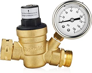Renator M11-0660R Water Pressure Regulator Valve. Brass Lead-Free Adjustable Water Pressure Reducer with Gauge for RV Camper, and Inlet Screened Filter