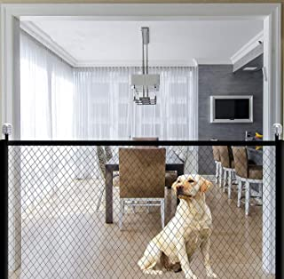 Dog Gate Magic Gate for Dogs Pet Safety Gate Dog Magic Guard Portable Folding Mesh Magic Gate Baby Safety Gate Install Any...