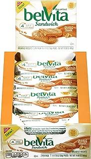 belVita Peanut Butter Breakfast Biscuit Sandwiches, 8 Count Box, 14.08 Ounce