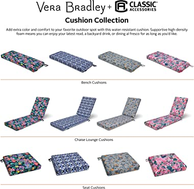 Vera Bradley by Classic Accessories Water-Resistant Patio Bench Cushion, 54 x 18 x 3 Inch, Ikat Island