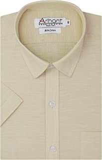 Arihant Plain Solid 100% Cotton Half Sleeves Regular Fit Formal Shirt for Men