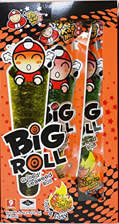 Tao Kae Noi Big Roll Grilled Seaweed Roll 9 Packets Per Box 32 4 G 3 Boxes Tom Yum Goong Flavour Amazon Com Grocery Gourmet Food