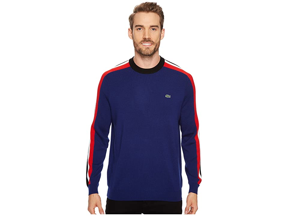 Lacoste Mouline Jersey Jacquard Wool Blend Sweater with Stripes On Sleeve (Methylene/Black/Flour/Cherry Red) Men