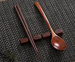 【Reusable Non Slip Design Dishwasher Safe】Lacquerware Natural Wooden Spoon and Chopsticks 2 Set with Gift Package