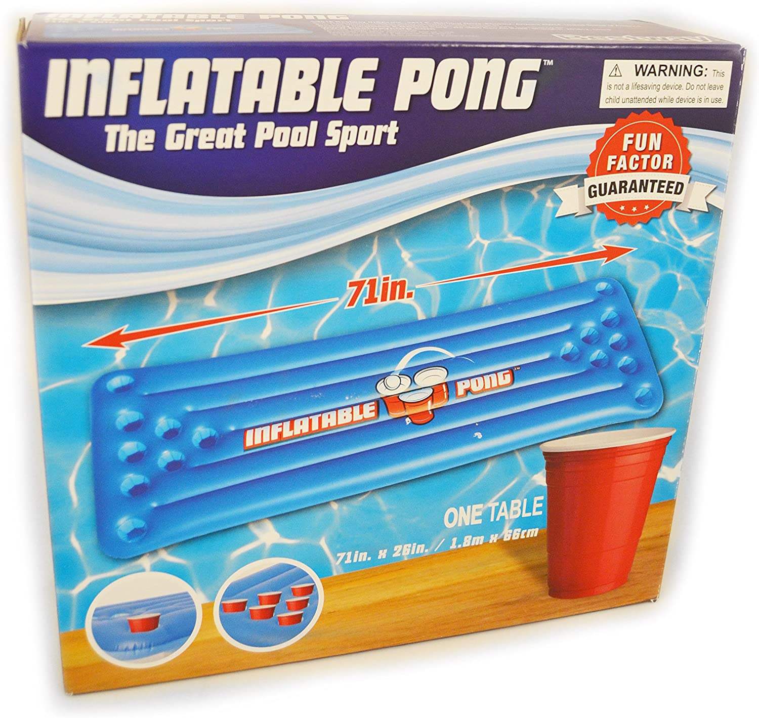 Inflatable Pool Table Pong - Pool Float with Cup Holders - Floating Pool Party Game