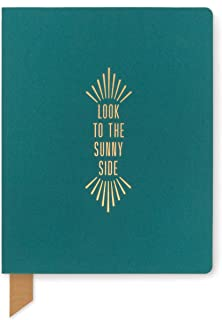 """DesignWorks Ink Exposed Spine Undated Perpetual Planner Journal, 6.75"""" x 8.5"""", Teal Shimmer - Look to the Sunny Side"""