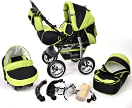 Kamil, Classic 3-in-1 Travel System with 4 STATIC (FIXED) WHEELS incl. Baby Pram, Car Seat, Pushchair & Accessories (3-in-1 Travel System, Black & Green)