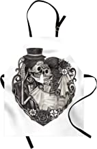 Lunarable Tattoo Apron, Skull Wedding Day of Dead Couple Bride and Groom Endless Love Vintage Artwork Print, Unisex Kitchen Bib with Adjustable Neck for Cooking Gardening, Adult Size, Grey Ash