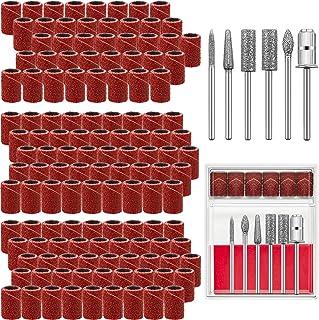 أدوات صنفرة الأظافر من 300 قطعة مع حافظات صنفرة مع 3 لقم حفر لاستخدام أدوات طلاء الأظافر، 3 ألوان، 80 120 180 أداة جلخ (بل...