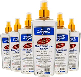 Elegant Hand Sanitizer Liquid Spray – 250ml – Pack of 6 – 70% IPA – Extra Hygienic – Moisturizers & Vitamin E