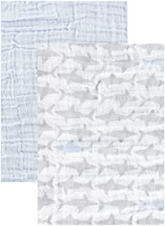 Yoga Sprout Muslin Swaddle Blankets, Blue Shark 2 Pack