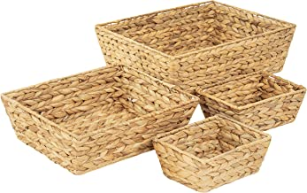 Artera Large Wicker Storage Basket - Set of 4 Woven Water Hyacinth Baskets with Handle, Large Rectangular Natural Nesting ...