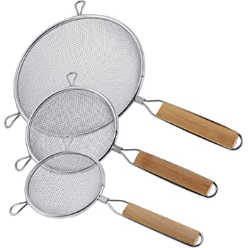 """U.S. Kitchen Supply - Set of 3 Premium Quality-Double Mesh Extra Fine Stainless Steel Strainers with Comfortable Wooden Handles, 4"""", 5.5"""" and 8"""" Sizes"""