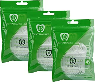 DentAdvance Mint Dental Floss Picks - Premium Angled, Easy Reach Back Teeth | Tooth Flossers | Mint Flavor, Waxed, 90 ct, w/ Travel Case
