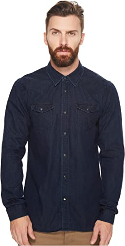 Scotch & Soda - Ams Blauw Classic Western Shirt in Regular Fit