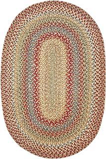 Azalea Premium Jute Braided Area Rug by Homespice, 8` x 10` Oval Red - Tan - Beige - Blue - Green, Reversible, Natural Jut...