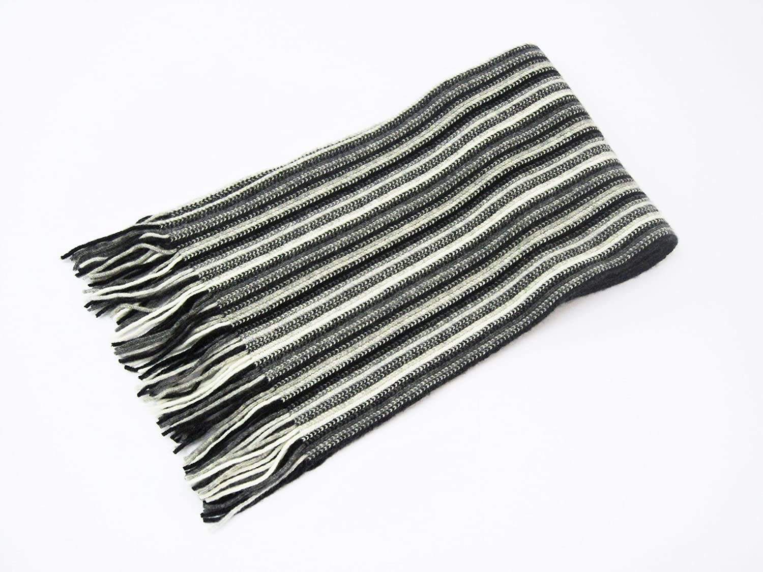 1 Ply Pure Cashmere Men's or Women's Stripe Scarf (Light bluees (1))