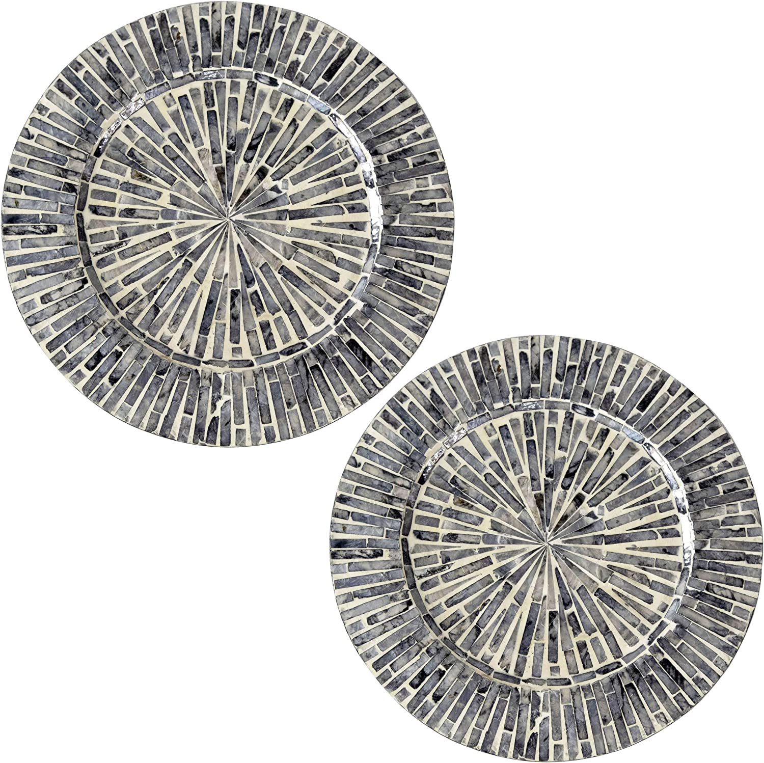 Set of 2 Pack Mother Of San Diego Mall Challenge the lowest price Pearl Plates Wood Nacre Inlay Charger fo