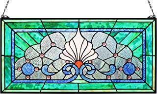 Yogoart Tiffany Fairytale Transom Stained Glass Window Panel, 30