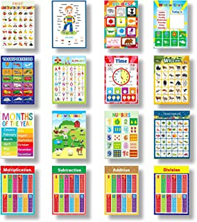 16 Pcs Educational Posters Speech Learning Poster Grammar Poster,Nursery Homeschool Playroom Teaching Poster for Preschool...