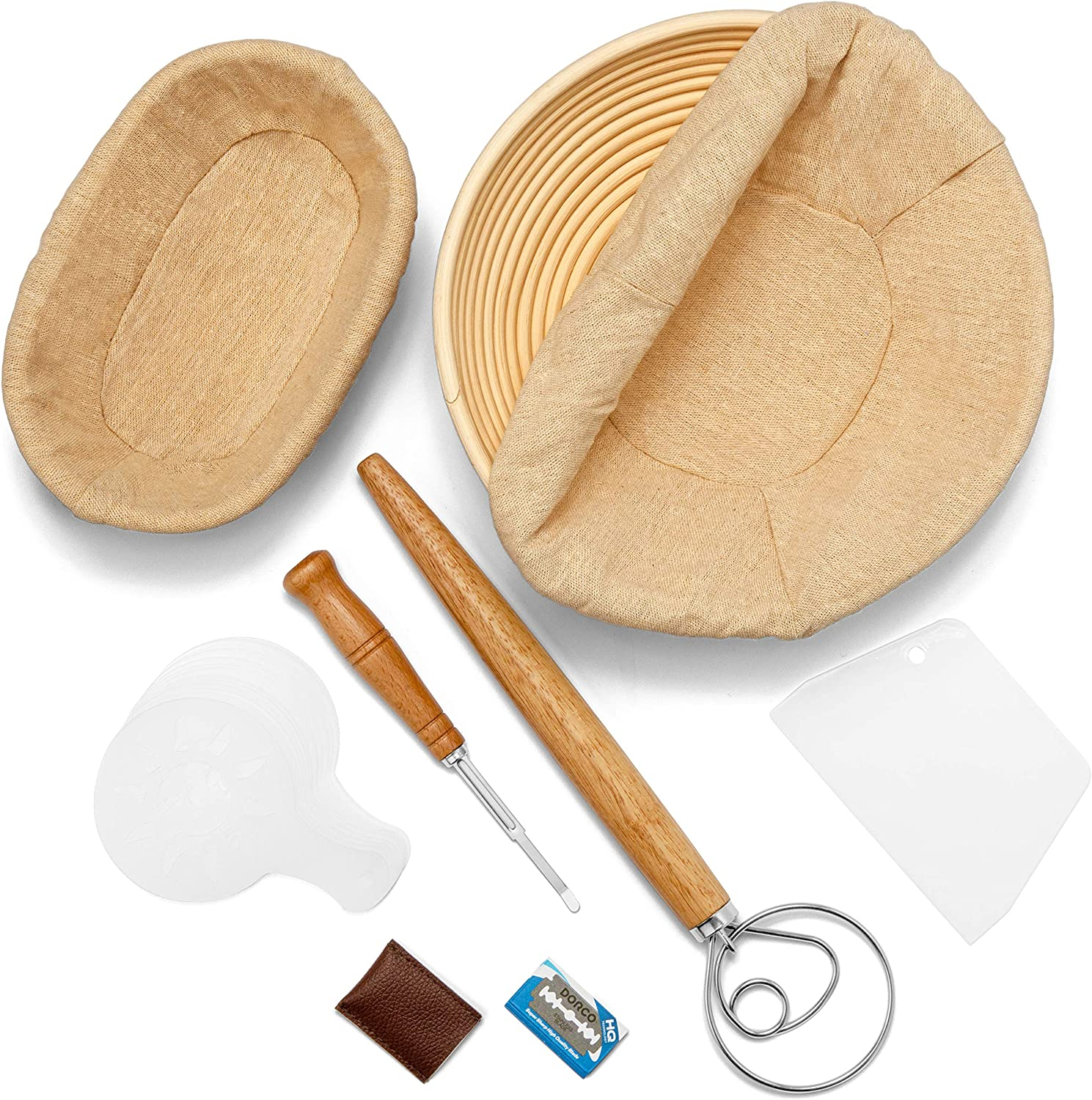 Limited time cheap sale Banneton Bread Proofing Basket Set of Round W + Oval Ranking TOP15 Dough 2