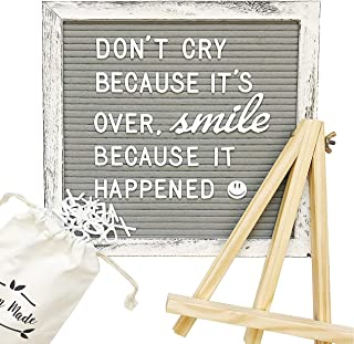 Vintage Distressed Gray and White Felt Wooden Letter Board w/Changeable, Thick-Pronged, Pre-Cut Letters, and Pack of Cursive Words. Easel Stand, Letter Bag, Measuring String, and Emoji Chart Included