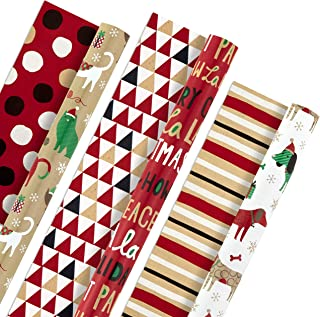 Hallmark Christmas Reversible Wrapping Paper Bundle, Pets and Patterns (Pack of 3, 120 sq. ft. ttl) Cats, Dogs, Stripes, P...