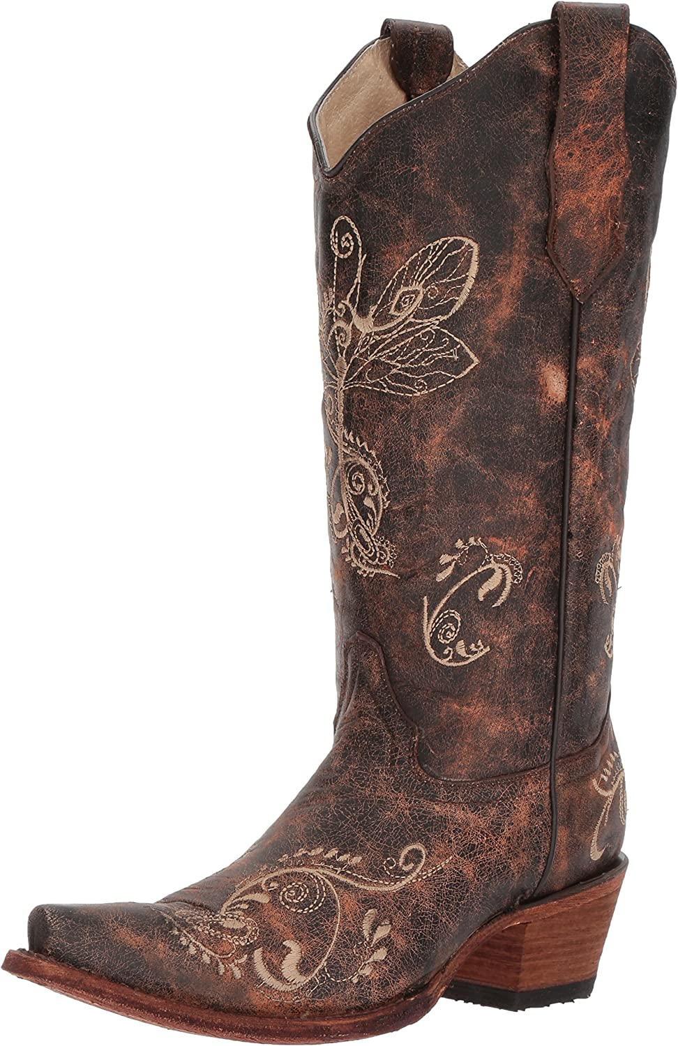 Circle G Women's Distressed Bone Dragonfly Embroidered Boot Snip Toe