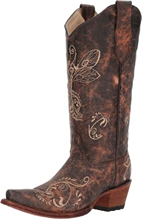 d88fc07b284a Circle G Women Distressed Bone Dragonfly Embroidered Boot Brown 9.5 M Snip  Toe
