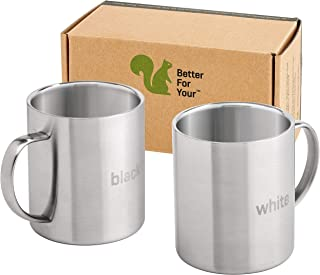 Stainless Steel Coffee Mugs Camping - Double Wall BPA free 13.5oz Metal Coffee Mug - Tea Cup Wide Handle, Fits Popular Coffee Machines - Shatterproof Set of 2 Cups with Laser Words Black & White