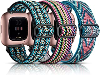 Maledan 3 Pack Elastic Band Compatible with Fitbit Versa/Fitbit Versa Lite/Fitbit Versa 2 Bands for Women Men, Adjustable Stretchy Nylon Solo Loop Strap Wristbands, Boho Green/Green Arrow/Colorful