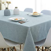 "Cotton Linen Tablecloth Blue Solid Tablecloth for Kitchen Rectangular Tablecloth Decorative Table Cloth (Blue, 51"" x 86"")"
